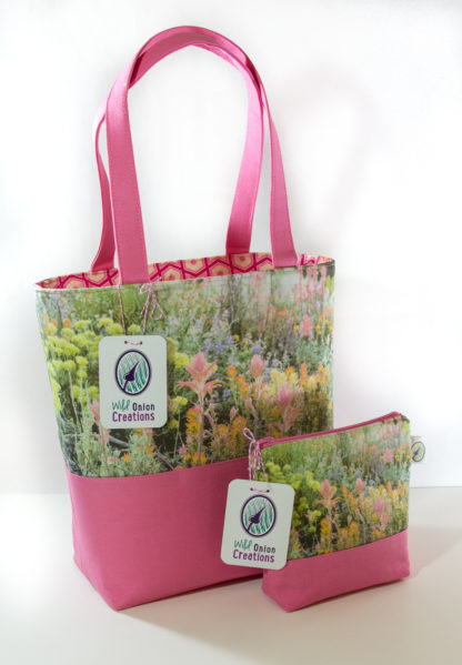 handcrafted wildflower book tote bag