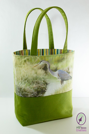 great blue heron book tote bag