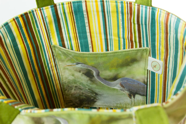 pocket detail of great blue heron tote bag