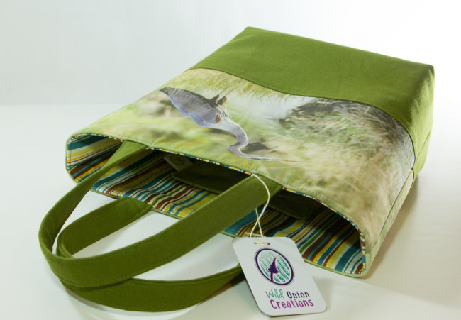 book tote bag handcrafted from photo of great blue heron fishing in owens valley canals
