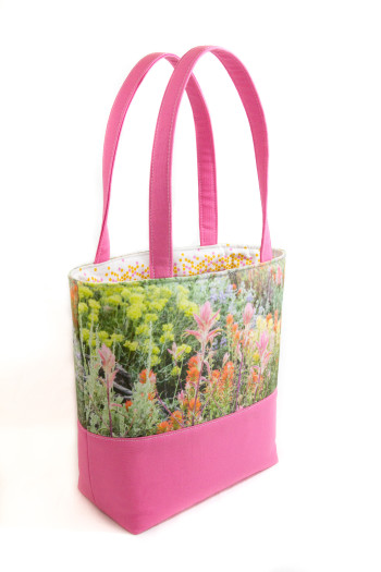 Handmade book tote bag from photo of Eastern Sierra wildflowers with pink canvas