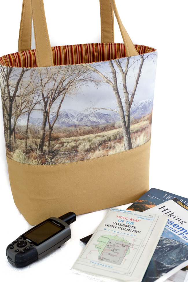 Eastern Sierra winter hues and a view of Mt. Tom on a handmade tote bag