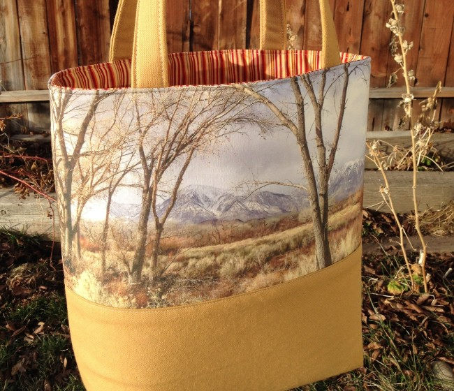 handmade tote bag featuring muted colors of Owens Valley winter