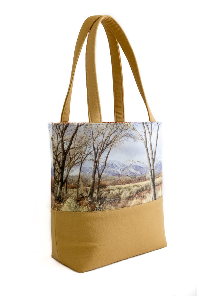 handmade canvas tote bag featuring snow-capped Mt. Tom in the Eastern Sierra