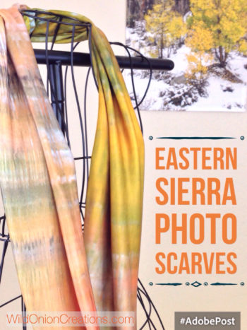 Handmade scarves from Eastern Sierra photographs- this one featuring fall colors reflecting in North Lake on the knit fabric type.