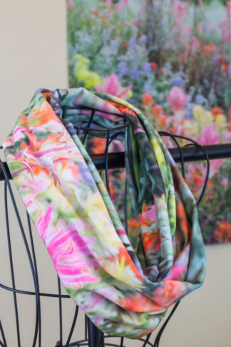 Buttermilk Wildflowers photo printed on fabric and handcrafted into an infinity scarf