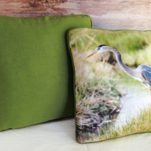 Handcrafted throw pillow with great blue heron fishing the canals in Bishop. CA