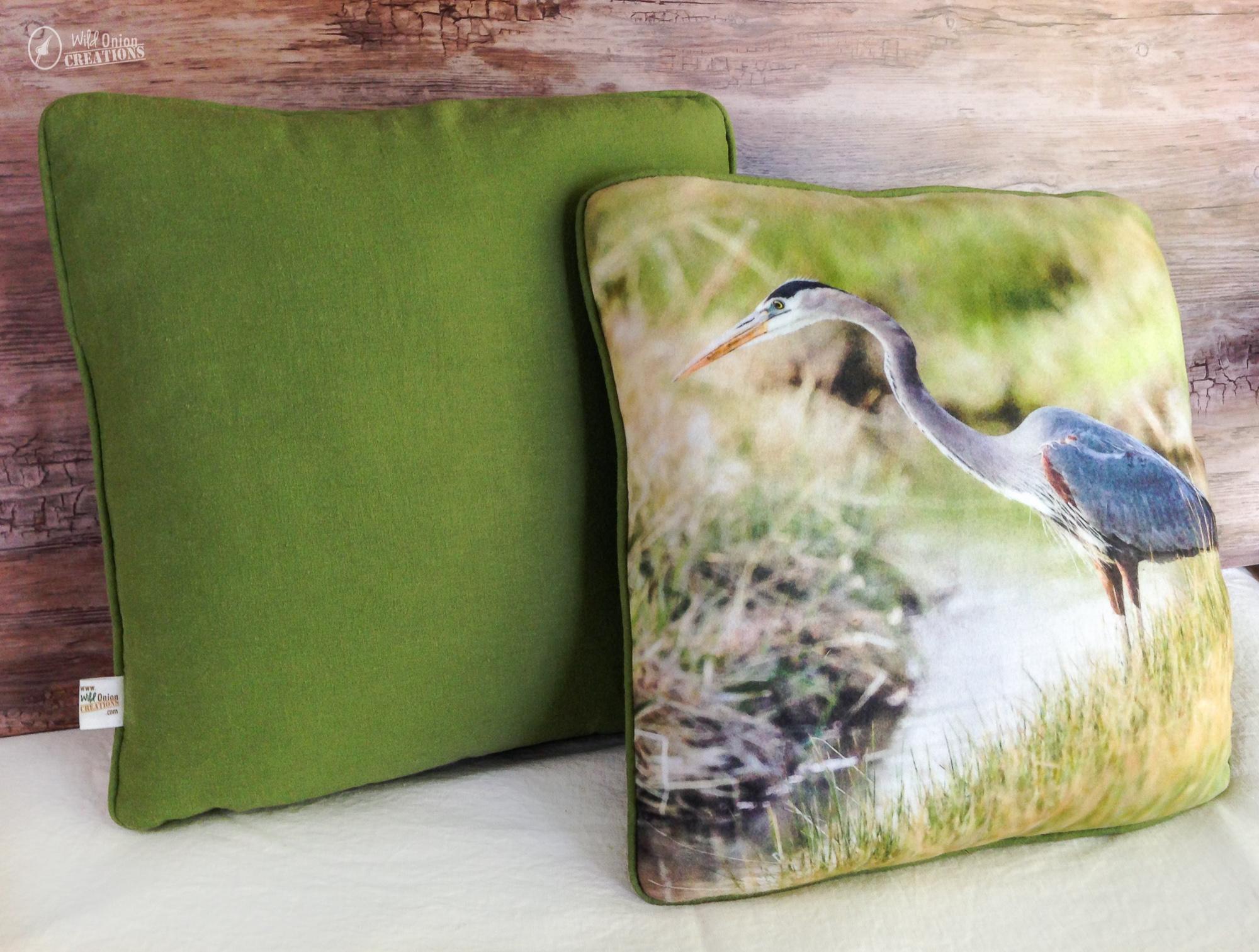 Blue Heron Throw Pillows : Birds Throw Pillow with Photo of Great Blue Heron Fishing
