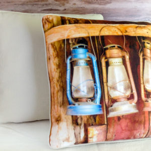 Bodie ghost town firehouse lanterns on handmade home decor throw pillow