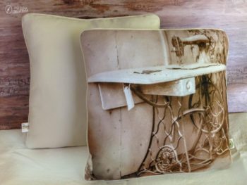handmade pillow with photo of vintage Singer treadle sewing machine left at Bodie ghost town