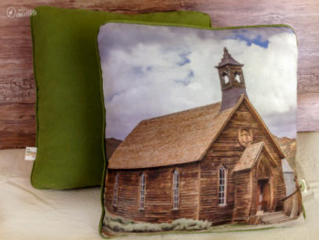 Methodist Church at Bodie State Historic Park printed on handmade rustic throw pillow