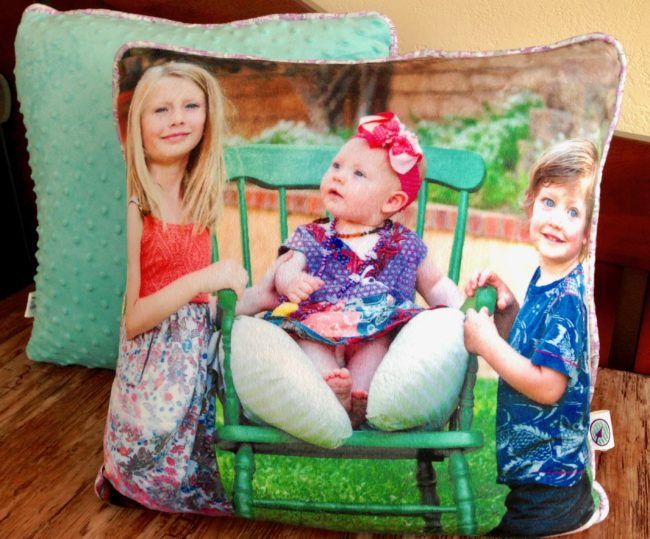 handcrafted pillow with a photo custom printed on fabric