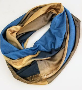 Sand Dunes Infinity Scarves -  tan and blues