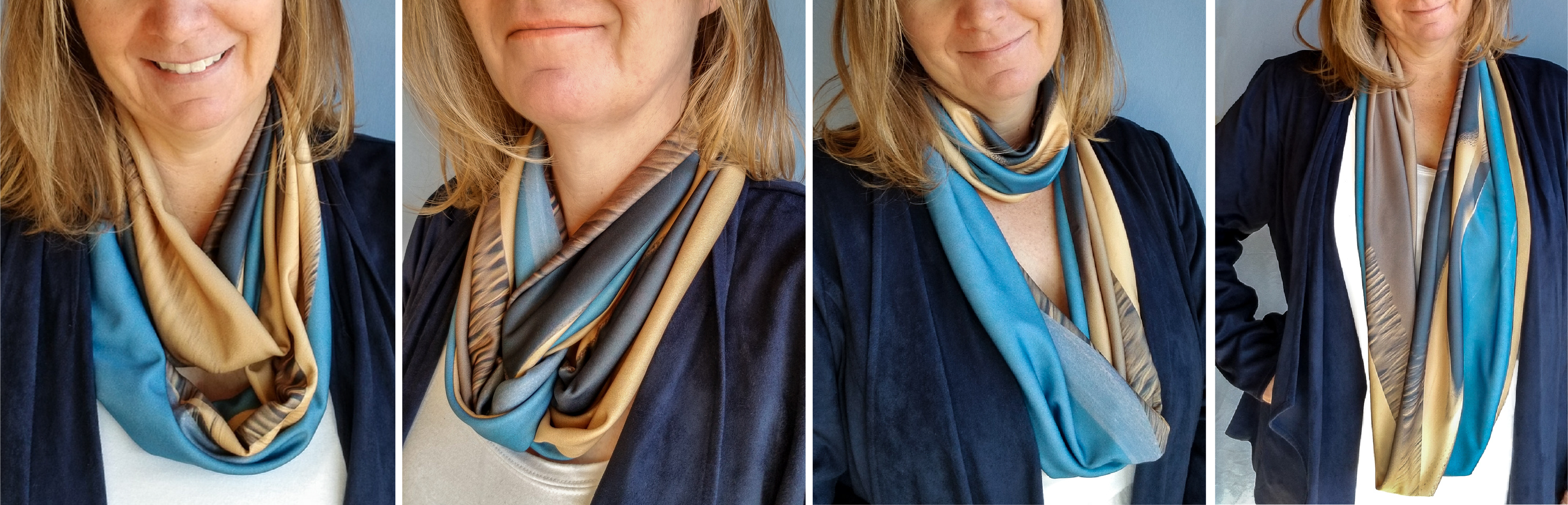 4 ways to wear blue and tan handmade infinity scarves