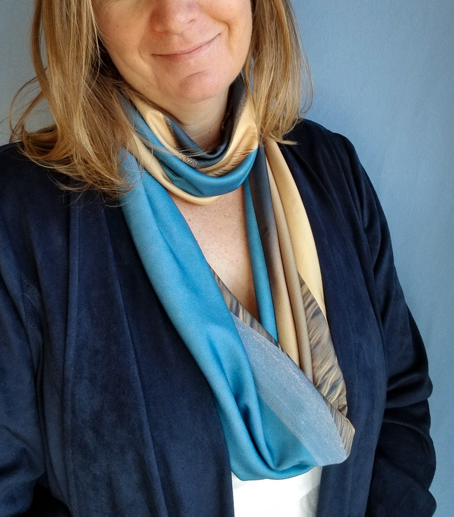 blue and tan infinity scarf handmade from sand dunes photo