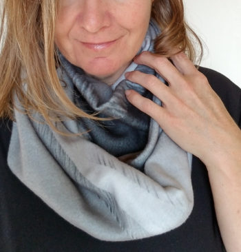 Photo infinity scarf-black and white sand dunes in fleece | Wild Onion Creations